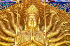 Golden quan yin thousand hands statue Stock Image
