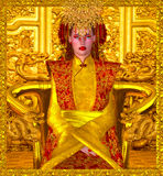 The Golden Queen Of Shanghai. A beautiful seductress sits on a golden throne and rules through both power and beauty in this digital art fantasy image of the Stock Photos