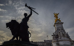 Golden Queen Victoria Memorial Statue Silhouette Stock Image