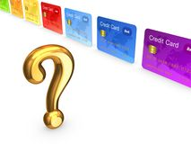 Golden query mark and colorful credit cards. Royalty Free Stock Images