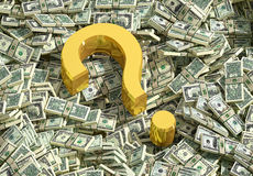 Golden Question Mark. And cash. Rendered with Blender 3D vector illustration