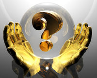 Golden question mark in a hands Stock Photos