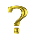 Golden question mark metallic sign Stock Images