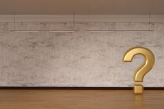 Golden question mark sign on wood floor 3D illustration. Golden question mark sign on wood floor 3D illustration royalty free illustration