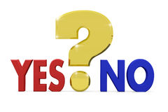 Golden question mark between words Yes and No. Concept of choice. Problem. 3d render Royalty Free Stock Photography