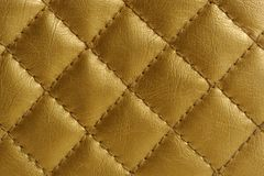 Golden Quilted Leather Background Royalty Free Stock Photos