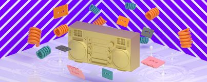A golden radio amidst colorful springs o. N a purple backdrop Royalty Free Stock Photos