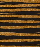 Golden ragged, uneven glittery stripes on a black background Royalty Free Stock Photo