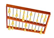 Golden rain from abacus Stock Photo