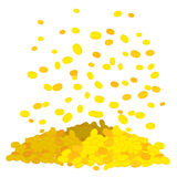 Golden rain. Falling gold coins. heap of money. Cash in fly in a Stock Photography