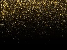 Golden rain isolated on black background. Vector gold grain texture celebratory wallpaper Royalty Free Stock Photos
