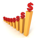 Golden raising bar chart with red dollar signs Stock Photography