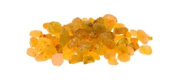 Golden raisins on a white background Stock Photo