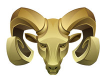 Golden ram head Stock Photography
