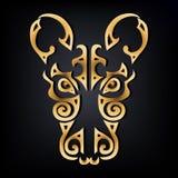 Golden Rat head logo isolated on black background. vector illustration