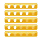 Golden rating bars with stars stock images