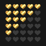 Golden Rating Hearts Panel Set. Vector Royalty Free Stock Photography
