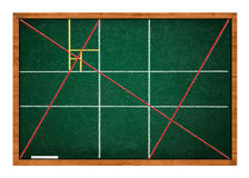 Golden ratio. Green chalkboard with wooden frame stock images