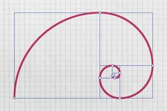 Golden ratio and golden spiral. Golden spiral as a graphical representation of the so called golden ratio royalty free illustration