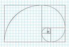 Golden ratio template , Divine Proportions, Golden Proportion. Universal meanings. Golden spiral, method of golden section, Fibonacci array, Fibonacci numbers Stock Images