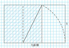 Golden ratio template , Divine Proportions, Golden Proportion. Universal meanings. Golden spiral, method of golden section, Fibonacci array, Fibonacci numbers Stock Photos