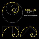Golden ratio template set. Proportion symbol. Graphic Design element. Golden section spiral. Vector illustration royalty free illustration