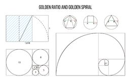Golden ratio template vector, Divine Proportions, Golden Proportion. Universal meanings. Golden spiral, method of golden section, Fibonacci array, Fibonacci stock illustration