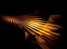Golden rays,  perspective. Golden rays  shining brightly, abstract background Royalty Free Stock Images