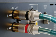 Golden RCA connectors Royalty Free Stock Image