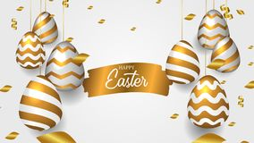 Golden realistic decorative hanged egg with confetti with splash brush ink gold foe Easter celebration event. Golden realistic decorative hanged egg with stock illustration