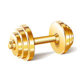 Golden realistic dumbbell Royalty Free Stock Image