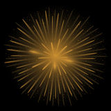 Golden realistic fireworks Stock Images