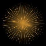 Golden realistic fireworks. On the black background, Vector illustration Stock Images