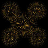 Golden realistic fireworks Stock Image