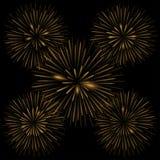 Golden realistic fireworks. On the black background, Vector illustration Stock Image
