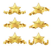 Golden realistic stars with ribbons. Set of golden realistic stars with ribbons on white Royalty Free Stock Image