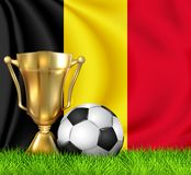 Golden realistic winner trophy cup and soccer ball isolated on national BELGIUM flag. National team is the winner of the football. Cup winner in the form of a vector illustration