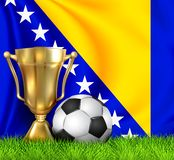 Golden realistic winner trophy cup and soccer ball isolated on national BOSNIA and HERZEGOVINA flag. National team is the winner. Of the football. Sport design royalty free stock image
