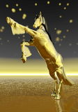 Golden rearing horse - 3D render. Golden rearing horse by beautiful starry night Stock Photo