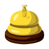 Golden reception bell icon, cartoon style Royalty Free Stock Photography
