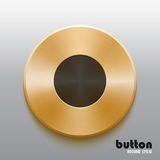 Golden record button with black symbol. Round record button with black symbol and brushed golden metal texture isolated on gray background Royalty Free Stock Image