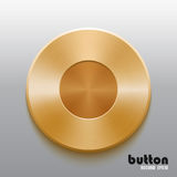 Golden record button. Round record button with golden brushed metal texture isolated on gray background Stock Photos