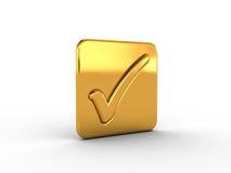 Golden rectangle with check mark Stock Photos