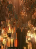 Golden rectangles abstract futuristic background. 3d rendering Royalty Free Stock Photos