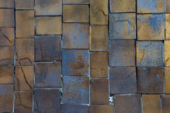 Golden rectangular shape tile wall Royalty Free Stock Image