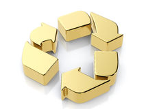 Golden recycle symbol Royalty Free Stock Image