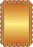 Golden red background. Golden background with red frame and ornaments Royalty Free Stock Photos