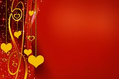 Golden and red backgrounds with hearts Royalty Free Stock Images
