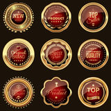 Golden and red badges. Set of golden red badges Stock Photos