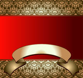 Golden On red Banner Royalty Free Stock Images
